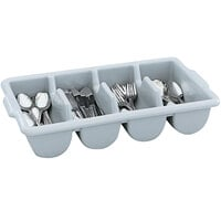 Vollrath 52651 Signature Gray Polyethylene 4-Compartment Cutlery Box with Overflow Cutout