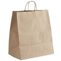 Sabert 20008 14 inch x 9 inch x 16 1/4 inch 2 Entree Meal Tamper-Evident Kraft Paper Delivery Bag - 200/Case