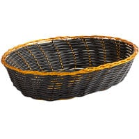 Vollrath 47208 9 inch x 6 1/4 inch x 2 3/8 inch Oval Black and Gold Vinyl Rattan Basket - 12/Case