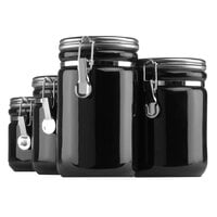 Anchor Hocking 03923MR Black 8 Piece Ceramic Canister Set with Stainless Steel Lids - 2/Set