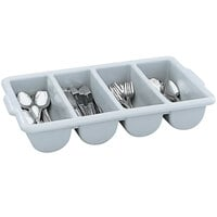 Vollrath 52654 Signature Gray Polyethylene 4-Compartment Cutlery Box