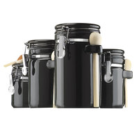 Anchor Hocking 03804BMR Black 8 Piece Ceramic Canister Set   - 2/Set