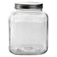 Anchor Hocking 85725AHG17 1 Gallon Glass Cracker Jar with Brushed Metal Lid - 4/Case