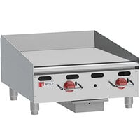 Wolf AGM24-24C Liquid Propane 24 inch Heavy-Duty Gas Countertop Griddle with Manual Controls and Chrome Plate - 54,000 BTU