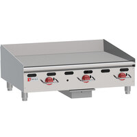 Wolf AGM36-24C Liquid Propane 36 inch Heavy-Duty Gas Countertop Griddle with Manual Controls and Chrome Plate - 81,000 BTU