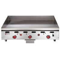 Wolf ASA36-30C Natural Gas Deep 36 inch Chrome Griddle with Thermostatic Controls - 81,000 BTU