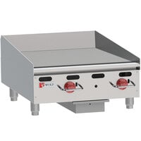 Wolf AGM24-24C Natural Gas 24 inch Heavy-Duty Gas Countertop Griddle with Manual Controls and Chrome Plate - 54,000 BTU