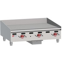 Wolf AGM36-24C Natural Gas 36 inch Heavy-Duty Gas Countertop Griddle with Manual Controls and Chrome Plate - 81,000 BTU