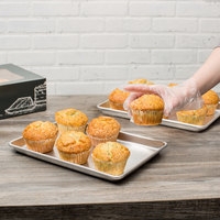 Chicago Metallic 40947 Textured Silver 9 1/2 inch x 13 inch Bakery Display Tray