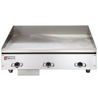Wolf WEG36E-24C 36 inch Electric Countertop Griddle with Snap-Action Thermostatic Controls and Chrome Plate - 240V, 1 Phase, 16.2 kW