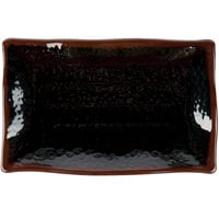 Thunder Group 2412TM Tenmoku Black 11 1/4 inch x 7 1/4 inch Rectangular Melamine Wave Plate - 12/Pack