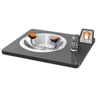 Guardian Equipment G1766 Recess Deck Mounted Eye and Face Wash Station with Stainless Steel Bowl and Flag Handle