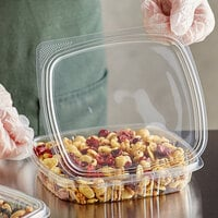 Choice 16 oz. Clear RPET Shallow Hinged Deli Container - 200/Case