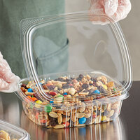 Choice 24 oz. Clear RPET Hinged Deli Container   - 200/Case