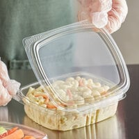 Choice 8 oz. Clear RPET Hinged Deli Container   - 200/Case