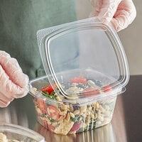 Choice 16 oz. Clear RPET Hinged Deli Container - 200/Case