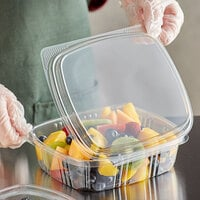 Choice 24 oz. Clear RPET Tall Hinged Deli Container - 200/Case