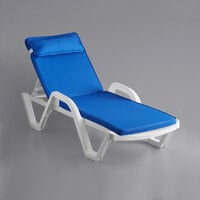 Lancaster Table & Seating White Stacking Adjustable Resin Chaise with Blue Cushion and Pillow