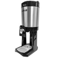 Fetco L4D-10TLA Luxus 1 Gallon Stainless Steel Hands-Free Coffee Dispenser with Stand and Antimicrobial Handle