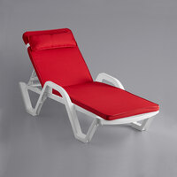 Lancaster Table & Seating White Stacking Adjustable Resin Chaise with Red Cushion and Pillow