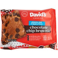 David's Cookies Gluten-Free Individually Wrapped Thaw N'Sell 3.5 oz. Chocolate Chip Brownie Bars - 48/Case