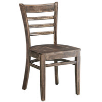 Lancaster Table & Seating Vintage Finish Wooden Ladder Back Chair with Vintage Wood Seat - Detached Seat