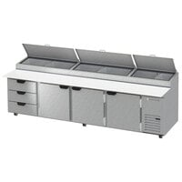 Beverage-Air DPD119HC-3-CL 119 inch 3 Drawer 3 Door Clear Lid Refrigerated Pizza Prep Table
