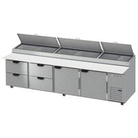 Beverage-Air DPD119HC-4-CL 119 inch 4 Drawer 2 Door Clear Lid Refrigerated Pizza Prep Table