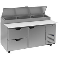 Beverage-Air DPD67HC-2-CL 67 inch 2 Drawer 1 Door Clear Lid Refrigerated Pizza Prep Table