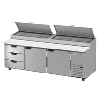 Beverage-Air DPD93HC-3-CL 93 inch 3 Drawer 2 Door Clear Lid Refrigerated Pizza Prep Table