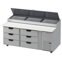 Beverage-Air DPD72HC-6-CL 72 inch 6 Drawer Clear Lid Refrigerated Pizza Prep Table
