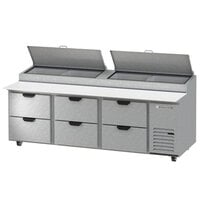 Beverage-Air DPD93HC-6-CL 93 inch 6 Drawer Clear Lid Refrigerated Pizza Prep Table
