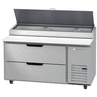 Beverage-Air DPD60HC-2-CL 60 inch 2 Drawer Clear Lid Refrigerated Pizza Prep Table