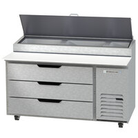 Beverage-Air DPD60HC-3-CL 60 inch 3 Drawer Clear Lid Refrigerated Pizza Prep Table