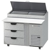 Beverage-Air DPD46HC-3-CL 46 inch 3 Drawer Clear Lid Refrigerated Pizza Prep Table