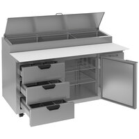 Beverage-Air DPD67HC-3-CL 67 inch 3 Drawer 1 Door Clear Lid Refrigerated Pizza Prep Table