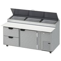 Beverage-Air DPD72HC-2-CL 72 inch 2 Drawer 1 Door Clear Lid Refrigerated Pizza Prep Table
