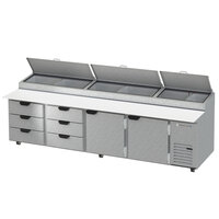 Beverage-Air DPD119HC-6T-CL 119 inch 6 Drawer 2 Door Refrigerated Pizza Prep Table