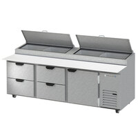 Beverage-Air DPD93HC-4-CL 93 inch 4 Drawer 1 Door Clear Lid Refrigerated Pizza Prep Table
