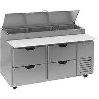 Beverage-Air DPD67HC-4-CL 67 inch 4 Drawer Clear Lid Refrigerated Pizza Prep Table