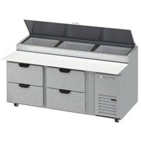 Beverage-Air DPD72HC-4-CL 72 inch 4 Drawer Clear Lid Refrigerated Pizza Prep Table