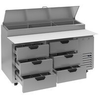 Beverage-Air DPD67HC-6-CL 67 inch 6 Drawer Clear Lid Refrigerated Pizza Prep Table