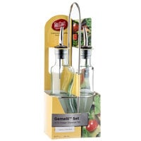 Tablecraft 918RSN Gemelli 8.5 oz. 3 Piece Clear Glass Oil and Vinegar Cruet Set with Stainless Steel Rack