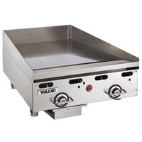 Vulcan MSA24-24C 24 inch Liquid Propane Chrome Top Commercial Griddle / Grill with Snap-Action Thermostatic Controls - 54,000 BTU