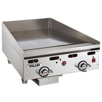 Vulcan 924RX-24C 24 inch Liquid Propane Chrome Top Commercial Griddle with Snap-Action Thermostatic Controls - 54,000 BTU