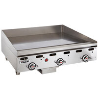 Vulcan MSA36-24C 36 inch Liquid Propane Chrome Top Commercial Griddle / Grill with Snap-Action Thermostatic Controls - 81,000 BTU