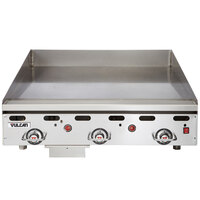 Vulcan 936RX-24C 36 inch Liquid Propane Chrome Top Commercial Griddle with Snap-Action Thermostatic Controls - 81,000 BTU
