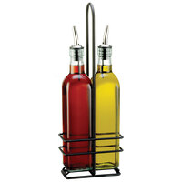 Tablecraft H916NBK Prima 16 oz. 3 Piece Green Tinted Glass Oil and Vinegar Cruet Set with Black Rack