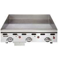 Vulcan 936RX-30C 36 inch Liquid Propane Chrome Top Commercial Griddle with Snap-Action Thermostatic Controls and Extra Deep Plate - 81,000 BTU