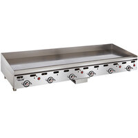 Vulcan 972RX-24C 72 inch Natural Gas Chrome Top Commercial Griddle with Snap-Action Thermostatic Controls - 162,000 BTU